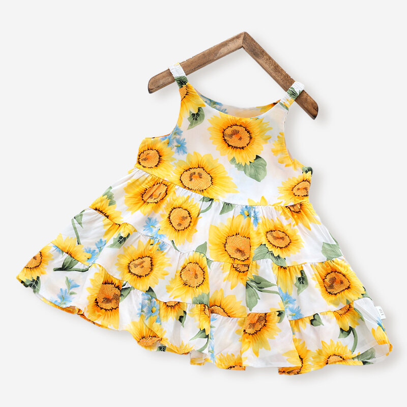 Best Girl's Sunflower Print Sleeveless Casual Slip Dress For 3-10Y You Can Buy