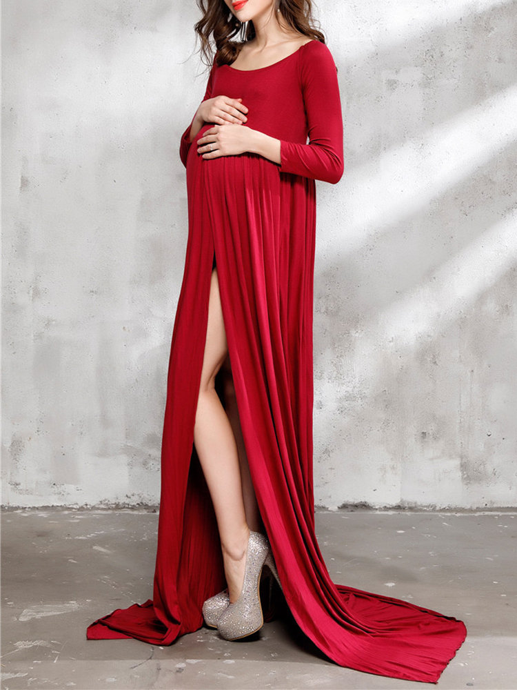 Best Solid Color Pregnant Women Photography Maxi Dress + Panties You Can Buy