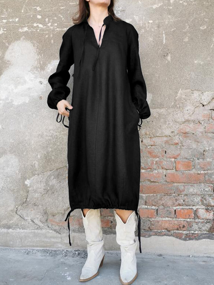 Best Solid Color Long Sleeves Casual Hem Drawstring Dress You Can Buy