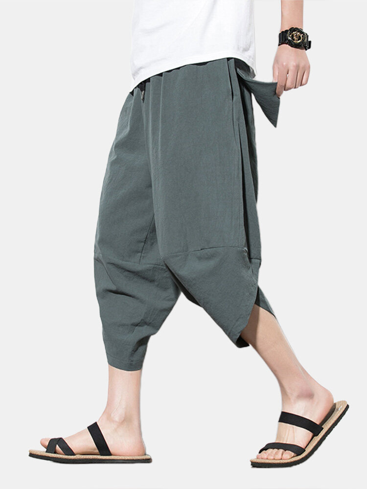 Best Mens Solid Color Brief Style Casual Loose Drawstring Waist Harem Pants You Can Buy