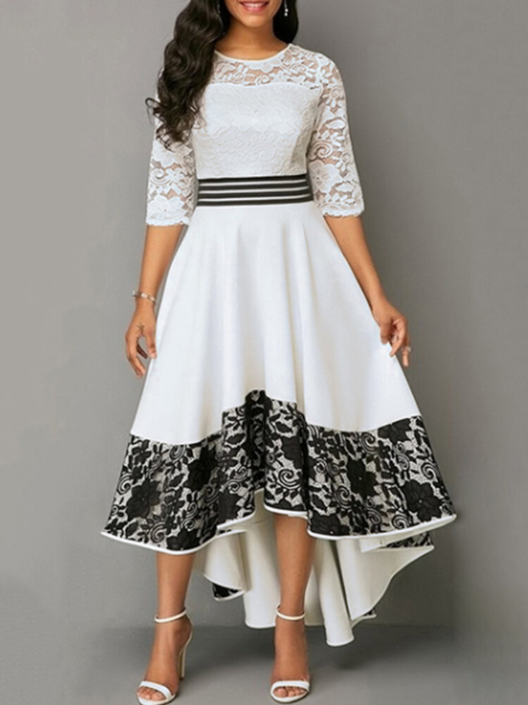 Best Floral Patch Lace Stiching Half Sleeve Big Swing Asymmetrical Dress You Can Buy