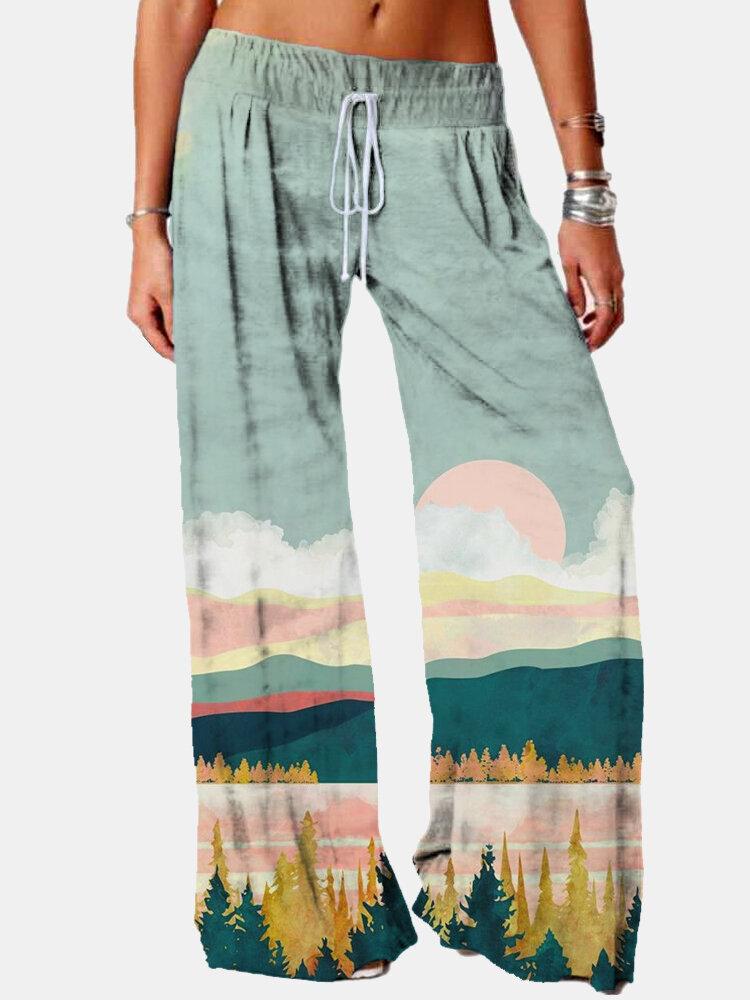 Best Landsacpe Printed Elastic Waist Wide Leg Pants For Women You Can Buy
