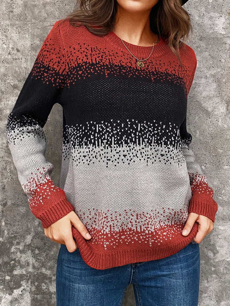 Best Casual Color Block O-neck Long Sleeve Sweater You Can Buy