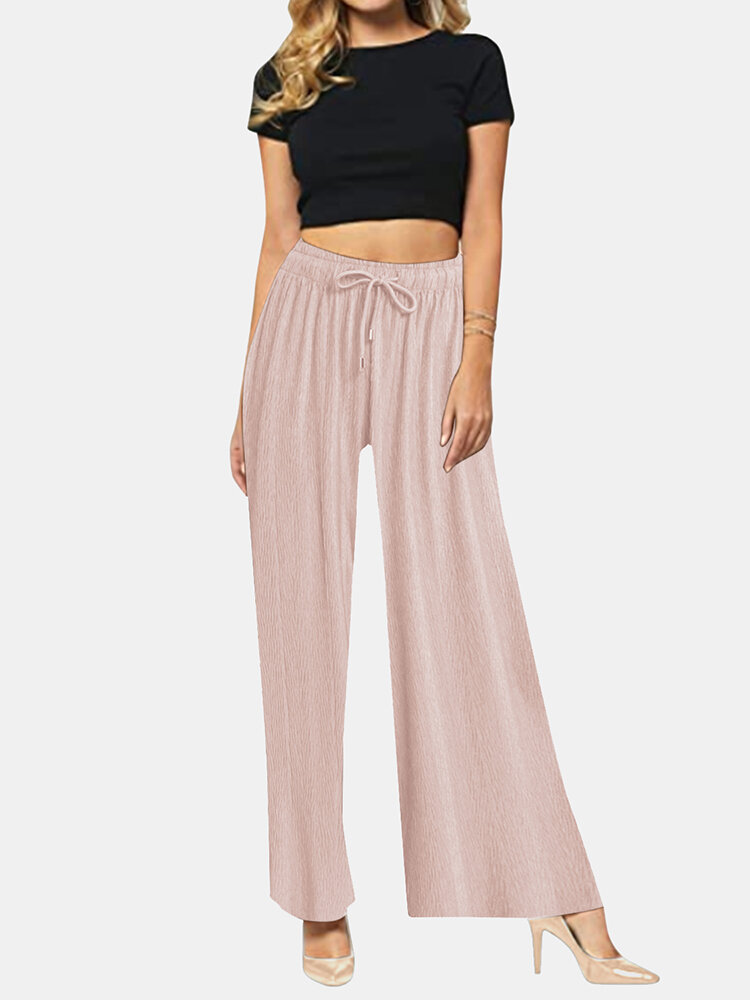 Best Solid Color Long Sleeve Elastic Wasit Wide Leg Pants You Can Buy