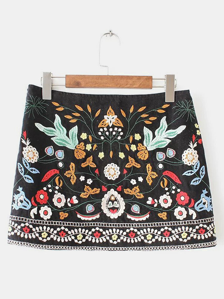 Best Women Vintage Floral Embroidery A-line High Waist Mini Skirt You Can Buy