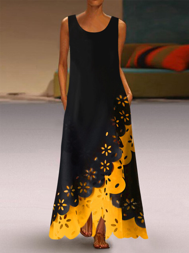 Best Lace Patchwork Sleeveless Maxi Dress You Can Buy