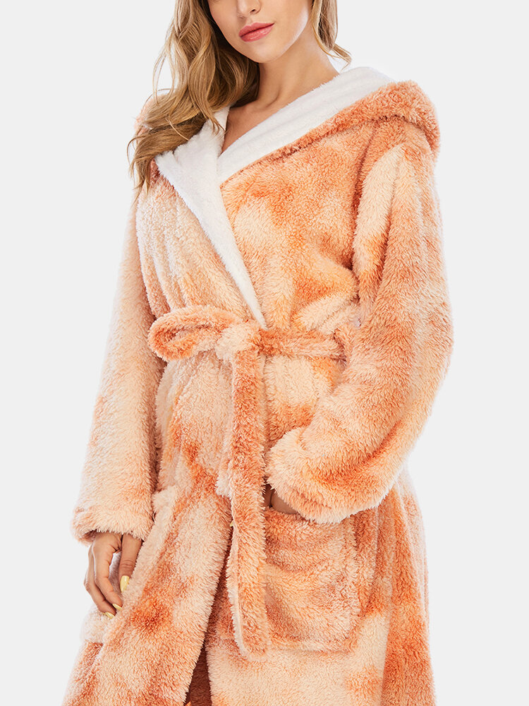 Best Women Tie Dye Sashes Fleece Hooded Thick Loose Sleepwear Robes With Double Pockets You Can Buy