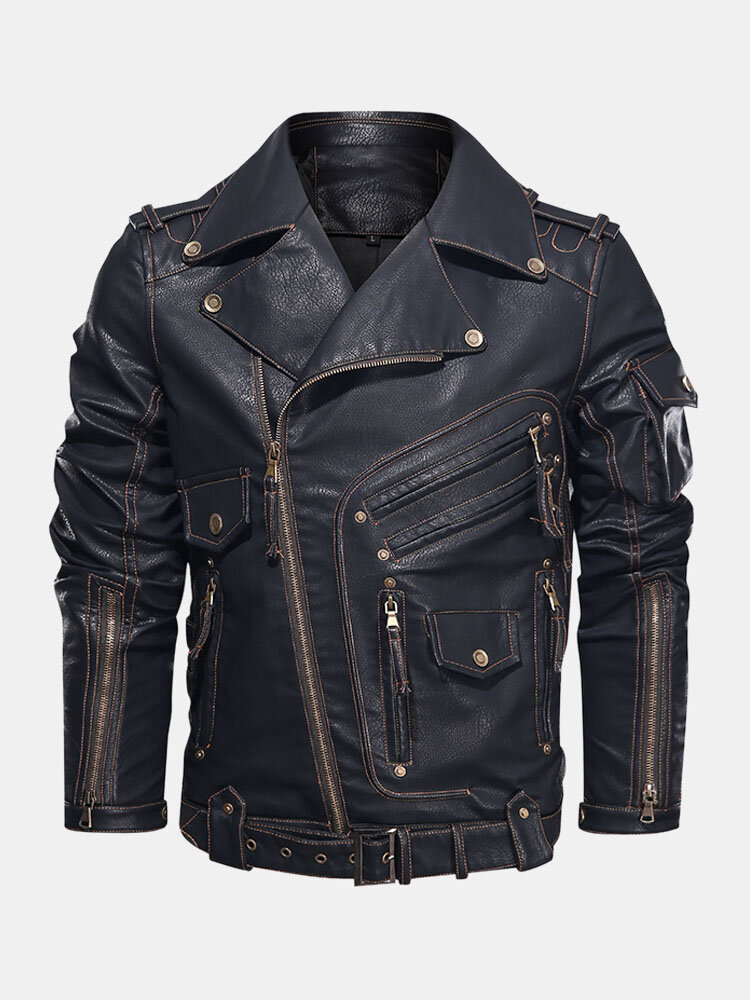 Best Mens Heavy Industry Motorcycle Service Zipper Designd Pocket PU Leather Jackets You Can Buy