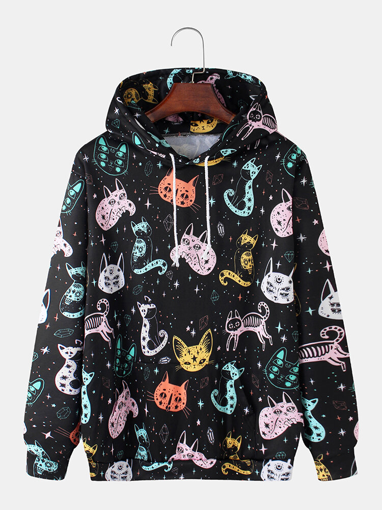 Best Mens Colorful Cartoon Cat Print Funny Loose Fit Casual Drawstring Hoodies You Can Buy