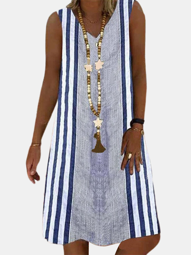 Best Striped Printed Sleeveless V-neck Casual Midi Dress You Can Buy