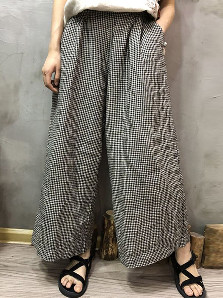Best Vintage Plaid Elastic Waist Wide Leg Plus Size Pants You Can Buy