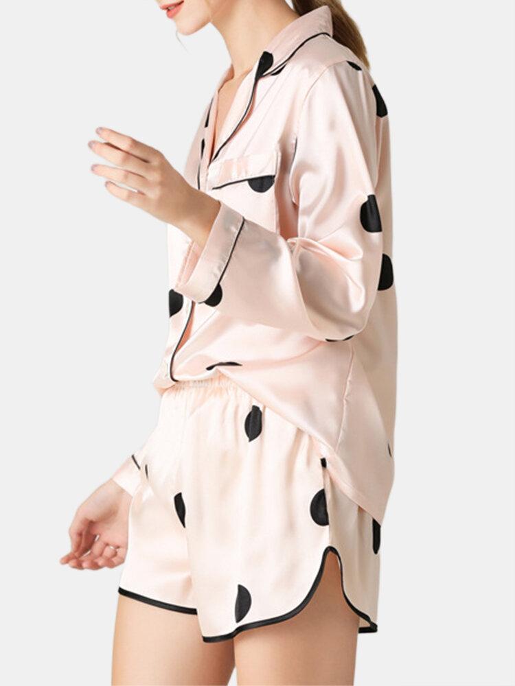 Best Women Faux Silk Pink Pajamas Sets Polka Dot Long Sleeve Lapel Collar Sleepwear For Autumn You Can Buy