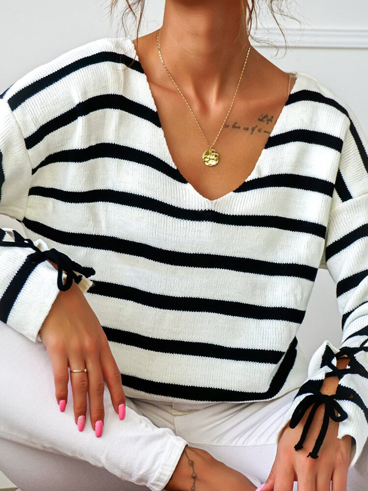 Best Striped V-neck Knotted Cuff Casual Long Sleeve Sweater You Can Buy