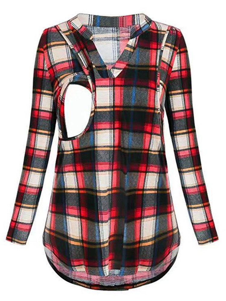 Best Grid Print Stand Collar Long Sleeve Nursing Blouse You Can Buy