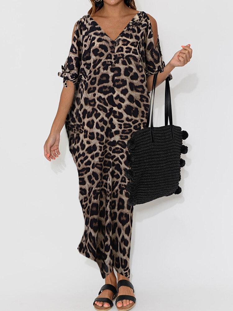 Best V-neck Short-sleeved Leopard Print Loose Split Dress You Can Buy