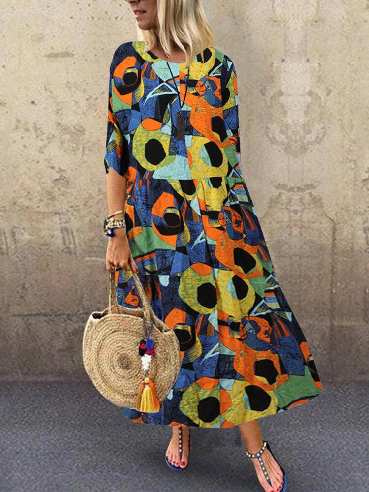 Best Geometric Print O-neck Empire Waist Plus Size A-line Dress You Can Buy