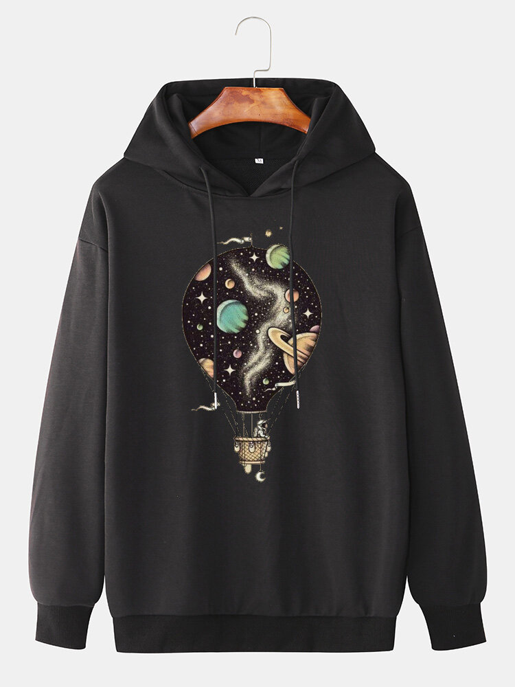 Best Mens Hot Air Balloon Graphic Print Cotton Relaxed Fit Drawstring Pullover Hoodies You Can Buy