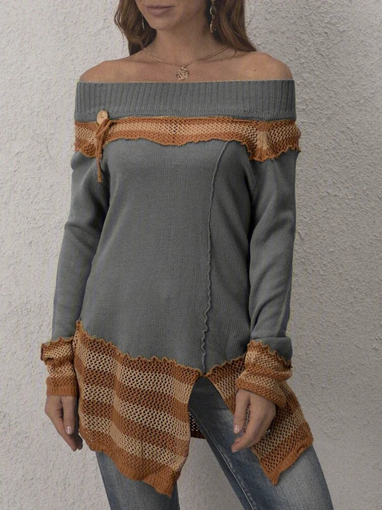 Best Contrast Color Patchwork Splited Long Sleeve Sweater For Women You Can Buy