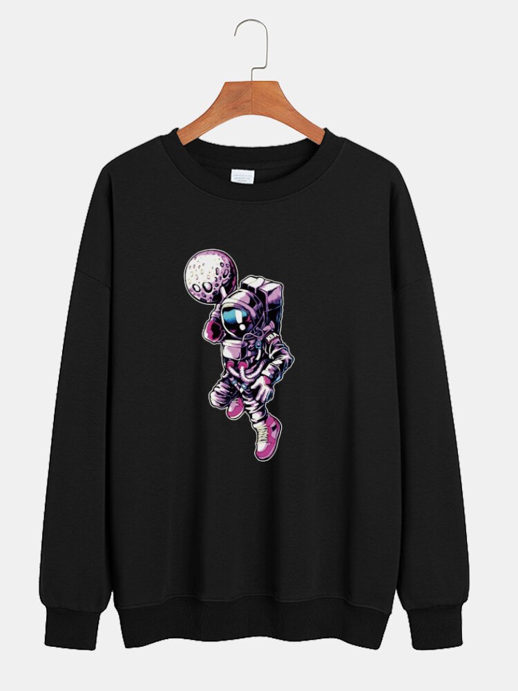 Best Mens Space Astronaut Print Cotton Casual Pullover Crew Neck Sweatshirts You Can Buy