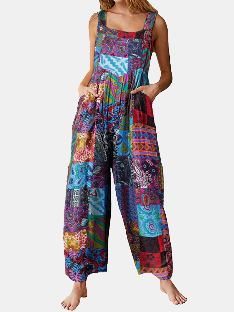 Best Loose Ethnic Print Straps Pockets Vintage Jumpsuit For Women You Can Buy