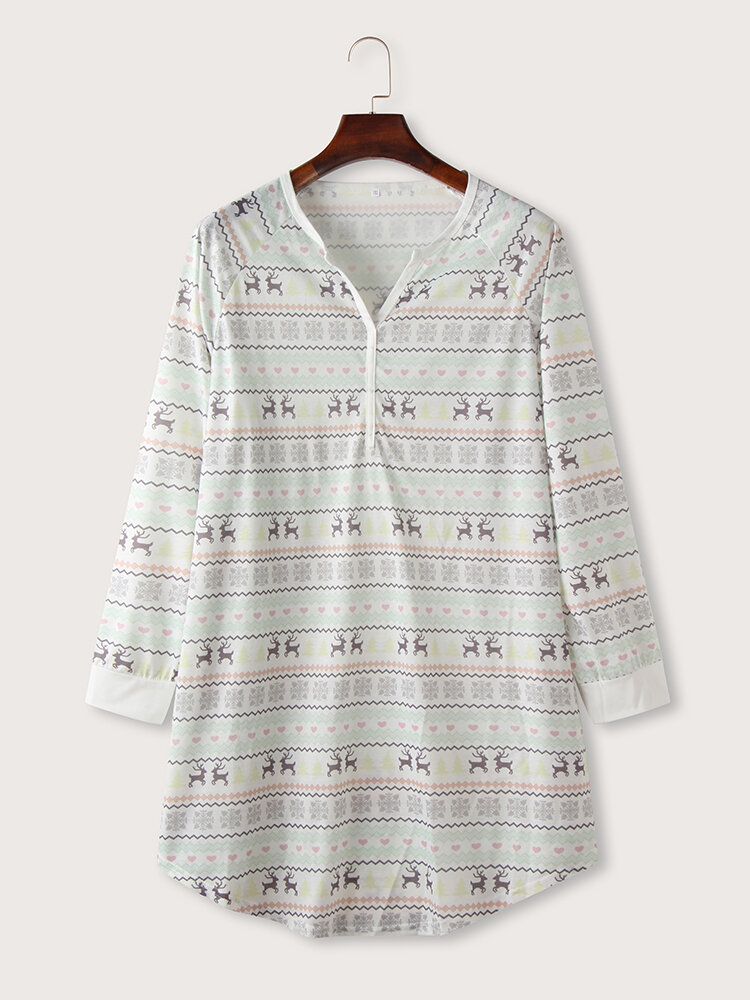 Best Deer Striped Print V-neck Long Sleeve Plus Size Nightdress You Can Buy