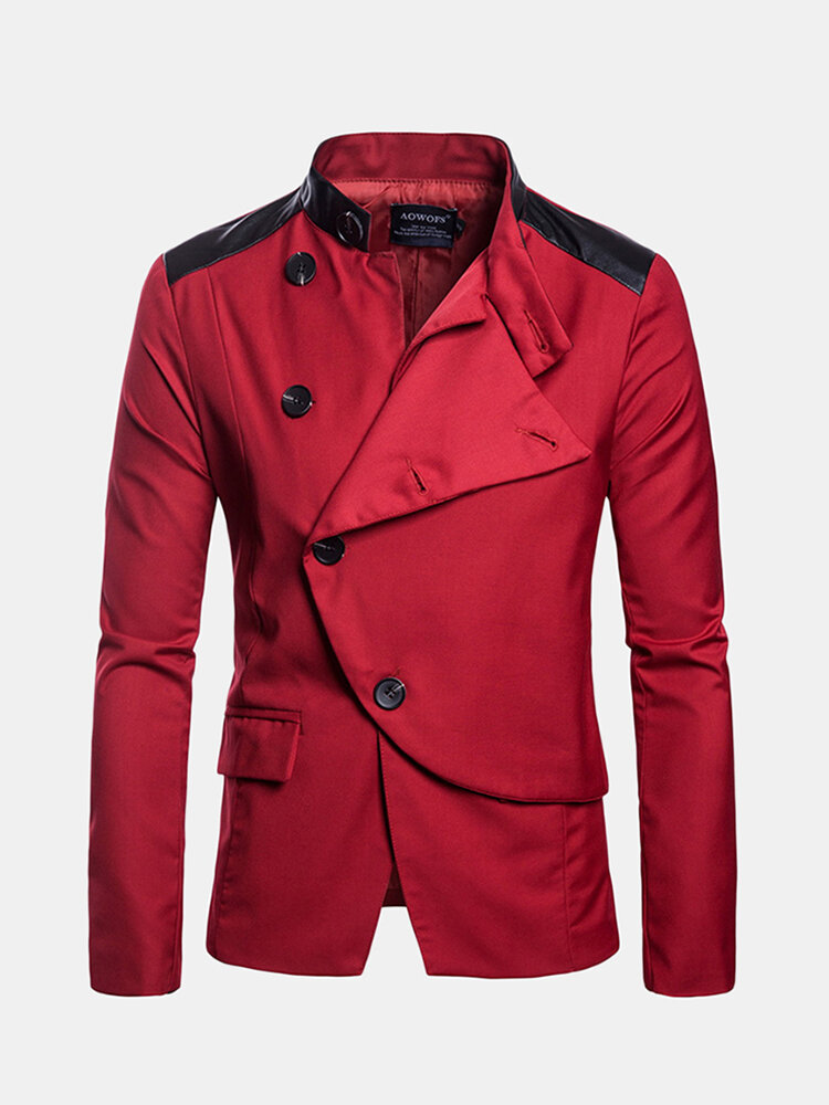 Best Stylish Business Big Button Featured Front Stand Collar Solid Color Blazers for Men You Can Buy