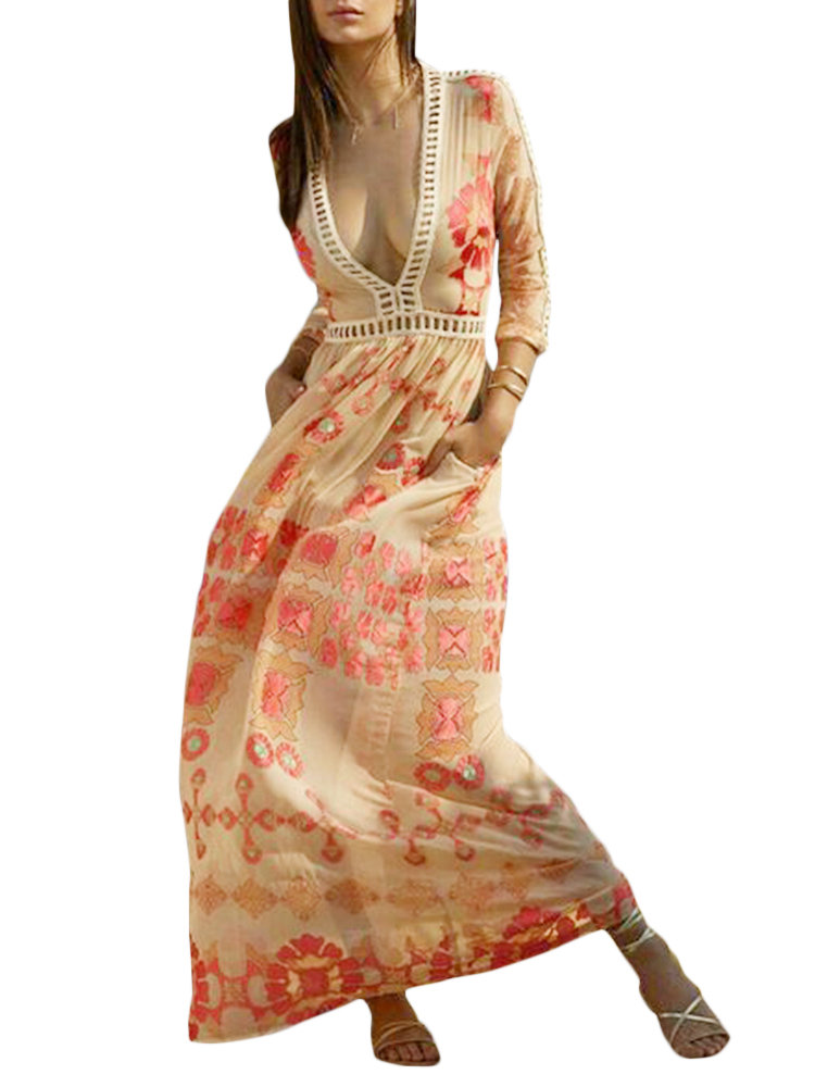 Best Printed Hollow Out Deep V-neck Beach Maxi Dresses You Can Buy