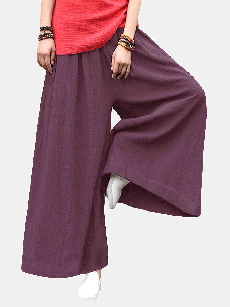 Best Vintage Women Solid Elastic Waist Drawstring Wide Leg Pants You Can Buy