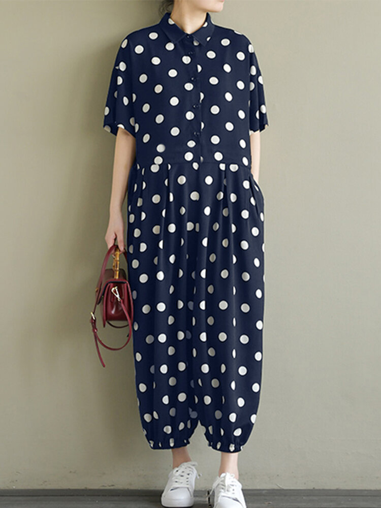 Best Polka Dot Print Button Turn-down Collar Pockets Short Sleeve Jumpsuits You Can Buy