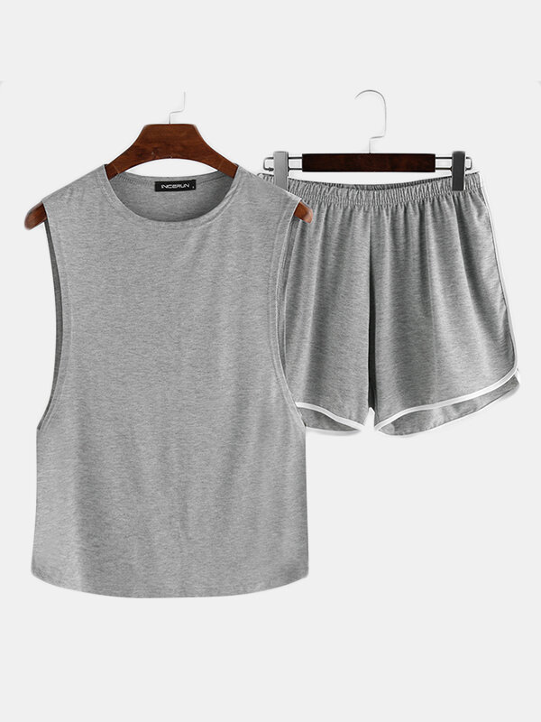 Best Men Plus Size Loose Pajamas Set Side Open Tank Tops Thin Breathable Boxer Shorts Plain Loungewear You Can Buy