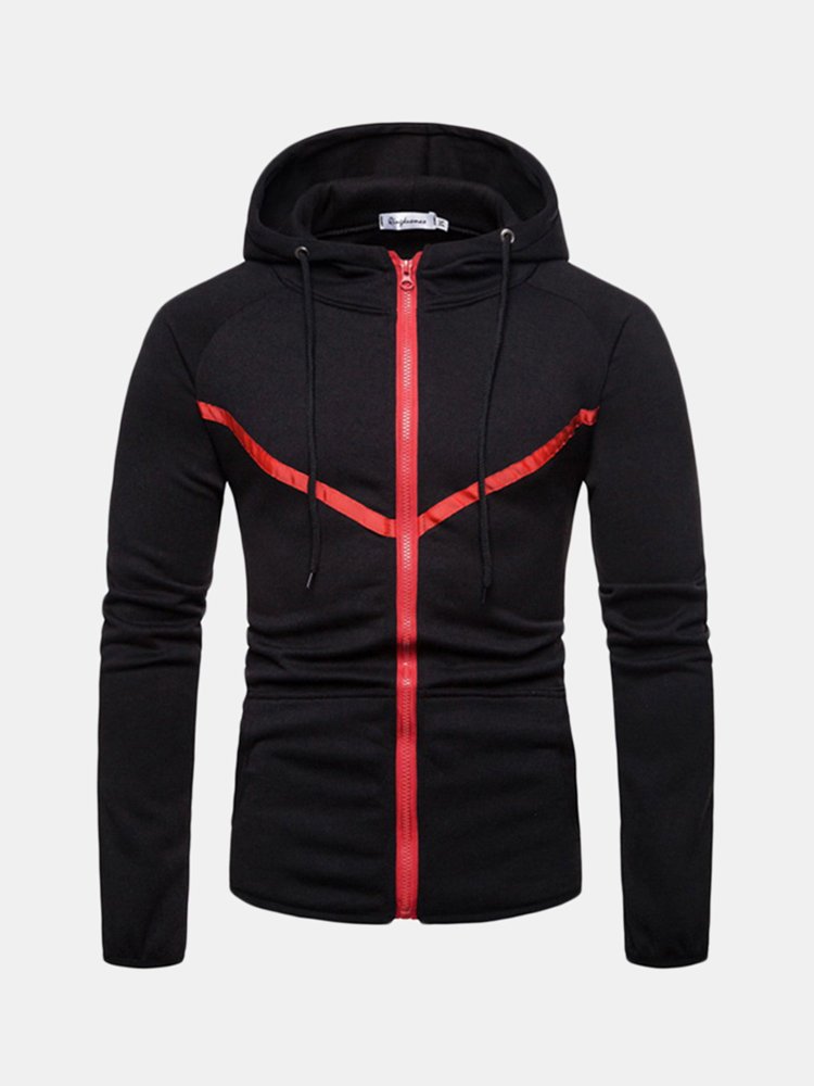 Best Mens Sport Hit Color Stitching Big Pockets Drawstring Slim FitCasual Hoodie You Can Buy