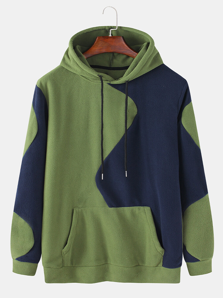 Best Mens Fleece Irregular Contrast Patchwork Casual Pouch Pocket Drawstring Hoodies You Can Buy