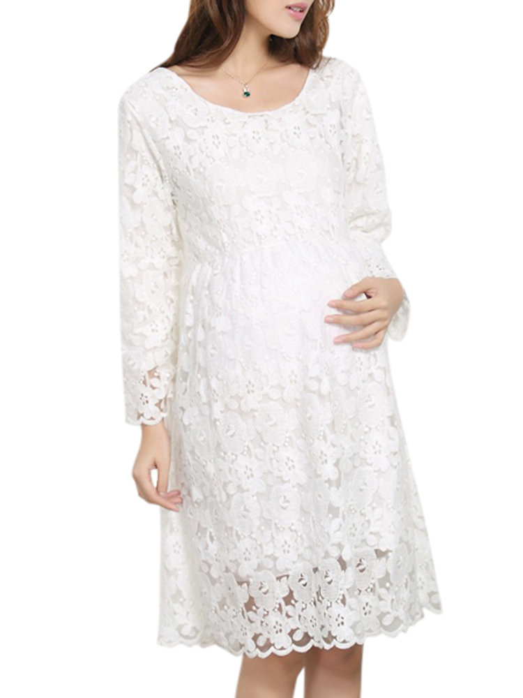 Best Lace Maternity Dresses Cotton Comfy Long Sleeve Maternity Pregnant Dress Pregnancy Clothing You Can Buy
