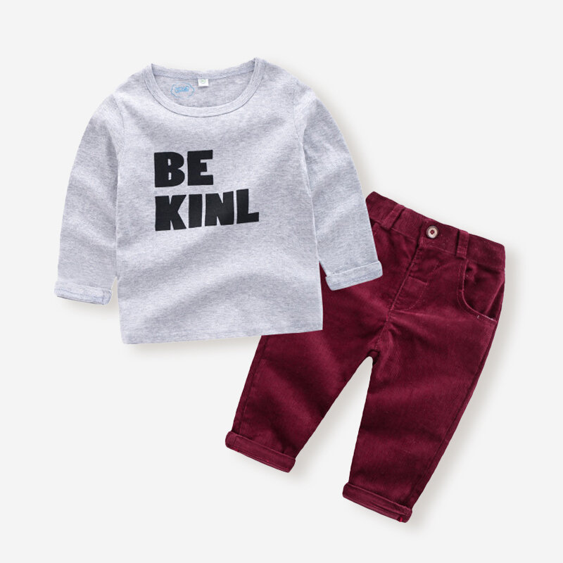 Best Boy's Letter Print Long Sleeves Tops+Corduroy Pants Set For 1-7Y You Can Buy