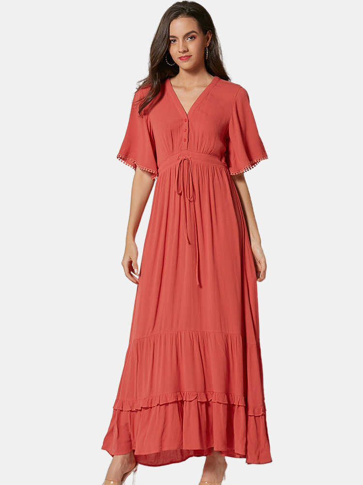 Best Bohemian Solid Color Laced Patchwork Maxi Dress For Women You Can Buy