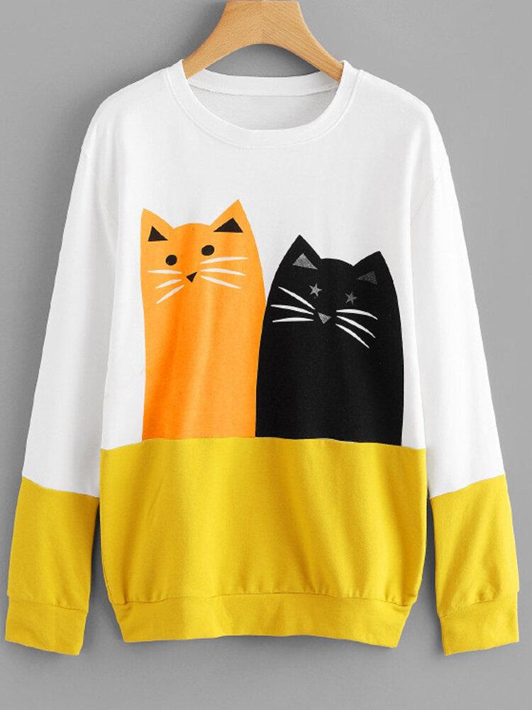 Best Cartoon Cat Print Patchwork Long Sleeve Sweatshirt You Can Buy