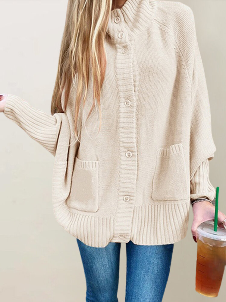 Best Knit Loose Bat Sleeve Plus Size Cardigan with Pockets You Can Buy