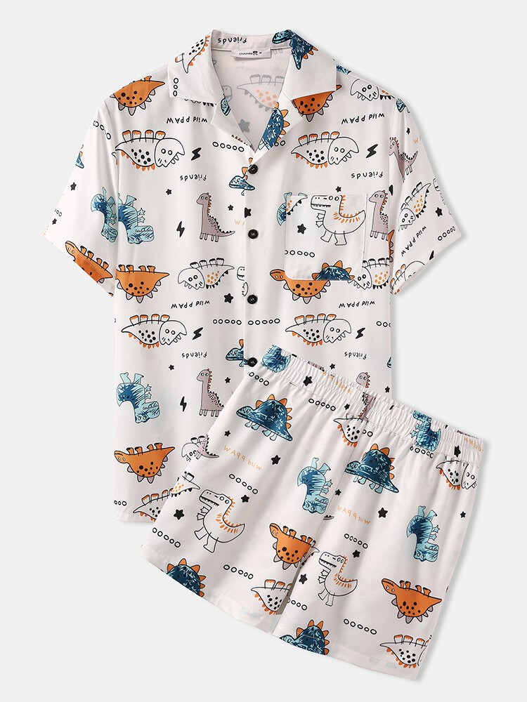 Best Cute Cartoon Pattern Dinosaur Loungewear Sets Two Pieces Summer Loose Cozy Suits for Men You Can Buy