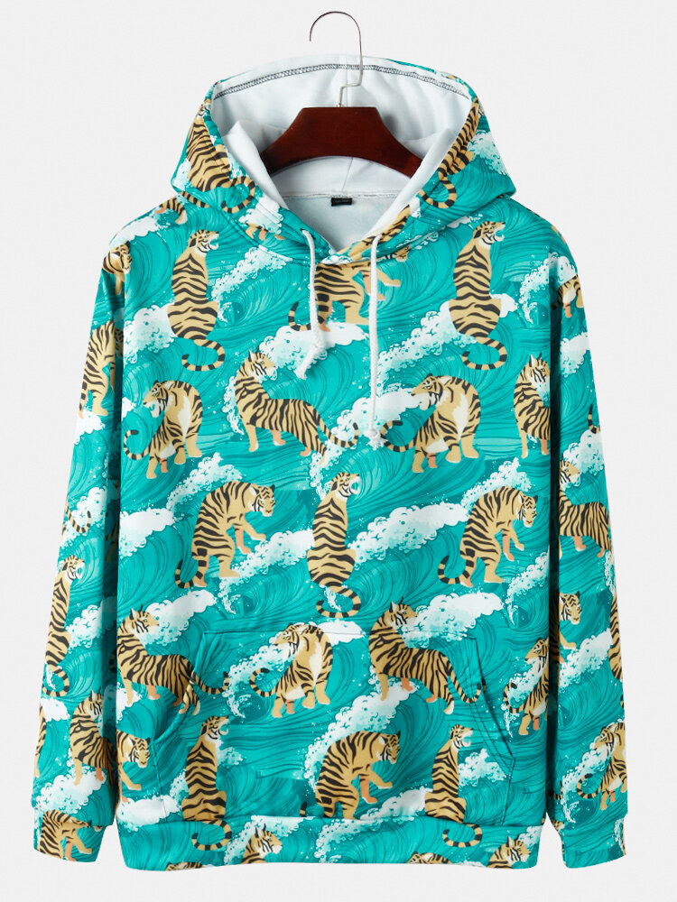 Best Mens Allover Tiger Print Muff Pocket Casual Loose Pullover Hoodies You Can Buy