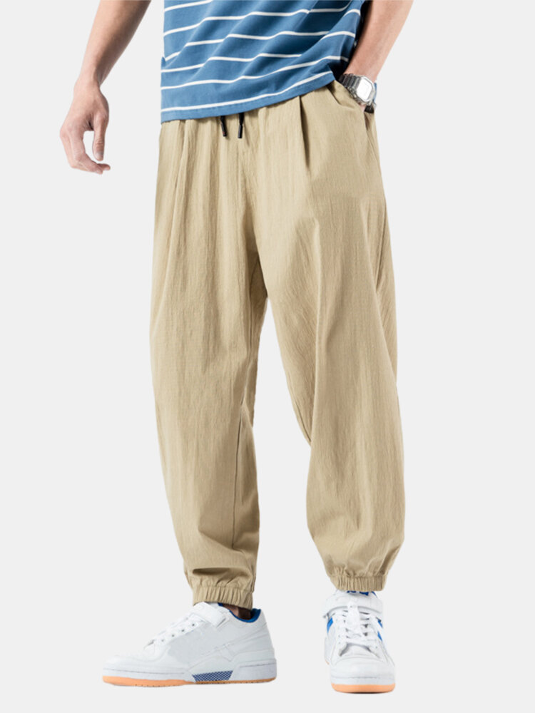 Best Mens Cotton Solid Color Casual Loose Elastic Drawstring Waist Harem Pants You Can Buy