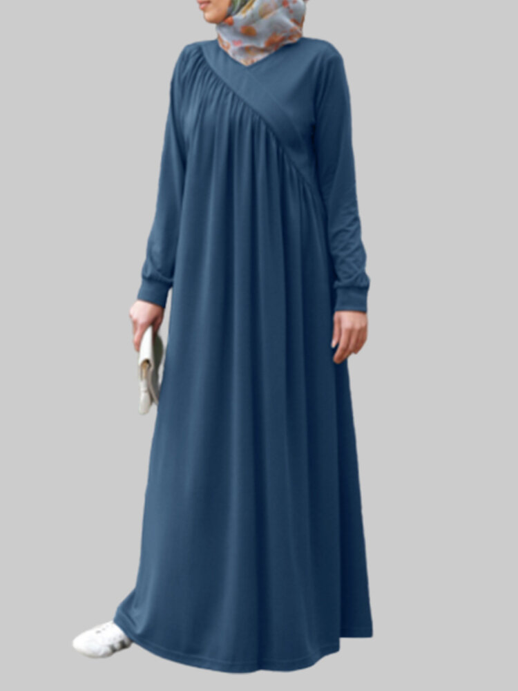 Best Casual Loose Long Sleeve Solid Color Plus Size Dress You Can Buy