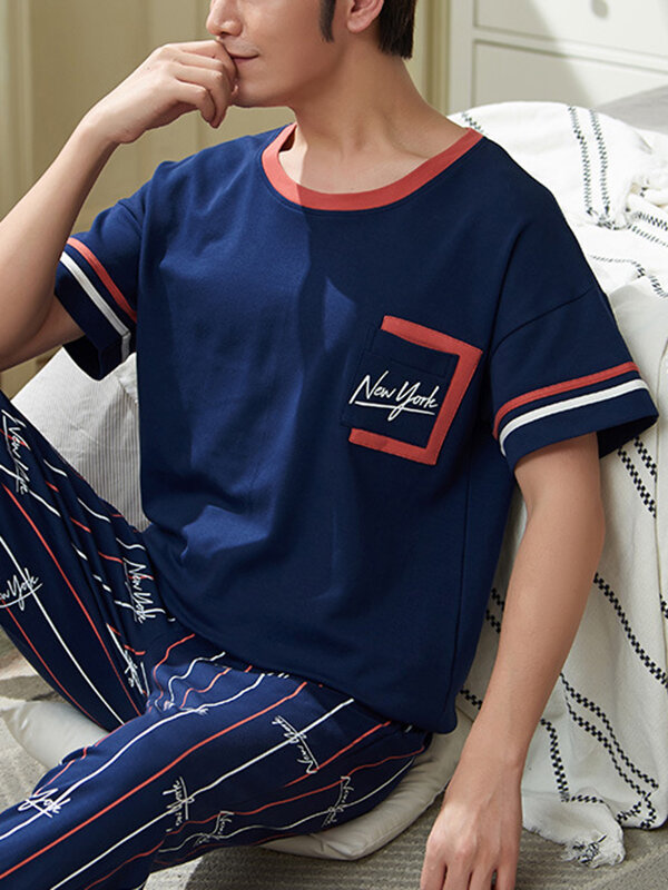Best Mens Letter Striped Plaid Print Cotton Short Sleeve Comfortable Casual Home Pajamas Sets You Can Buy