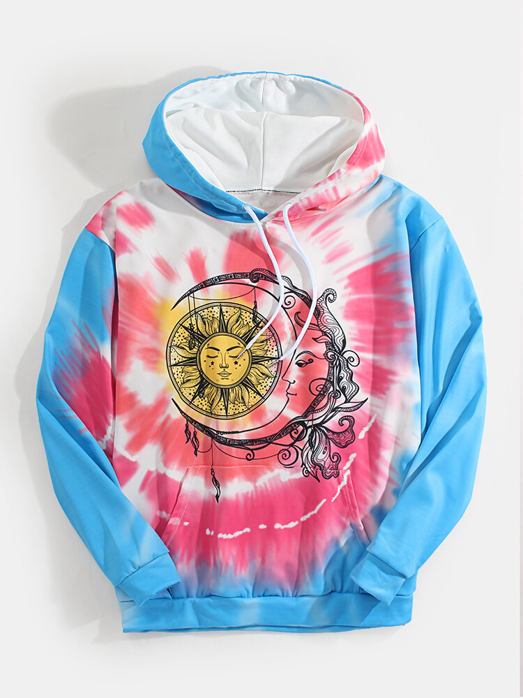 Best Men Tie Dye Sun & Moon Totem Printed Loose Pouch Pocket Drawstring Hoodies You Can Buy