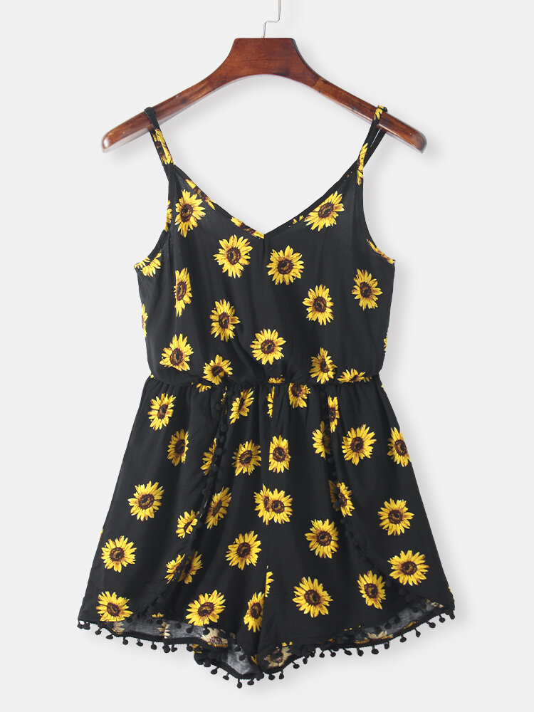 Best Sunflowers Print Spaghetti Straps Plus Size Jumpsuit You Can Buy