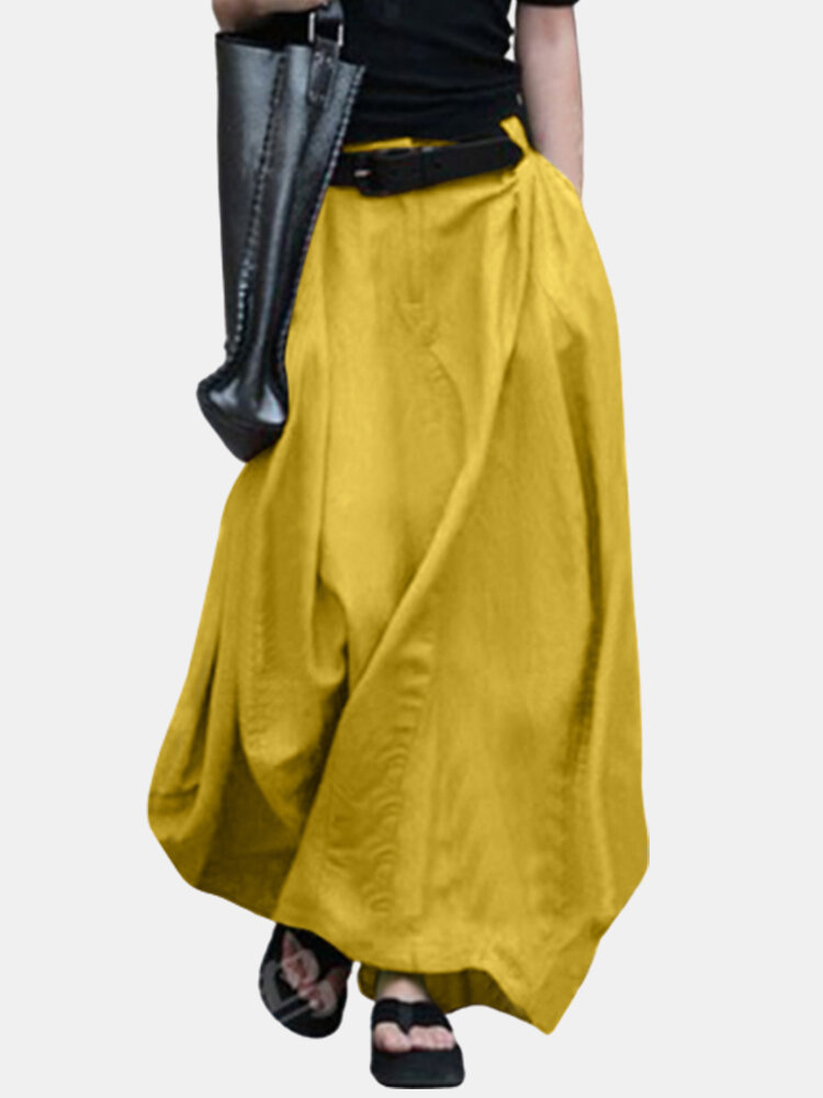 Best Casual Solid Color Loose Elastic Waist Plus Size Skirt You Can Buy