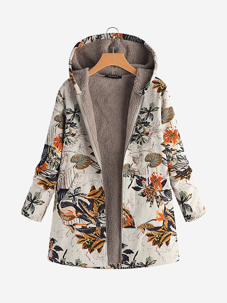 Best Leaves Floral Print Hooded Long Sleeve Vintage Coats You Can Buy