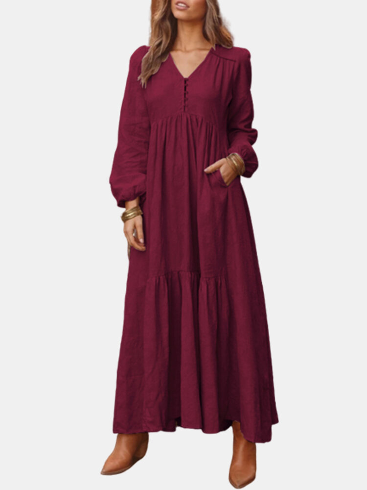 Best Casual Solid Color Button V-neck Plus Size Dress with Pockets You Can Buy