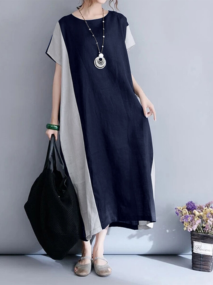 Best Patchwork Short Sleeve Cotton Casual Plus Size Baggy Dress You Can Buy
