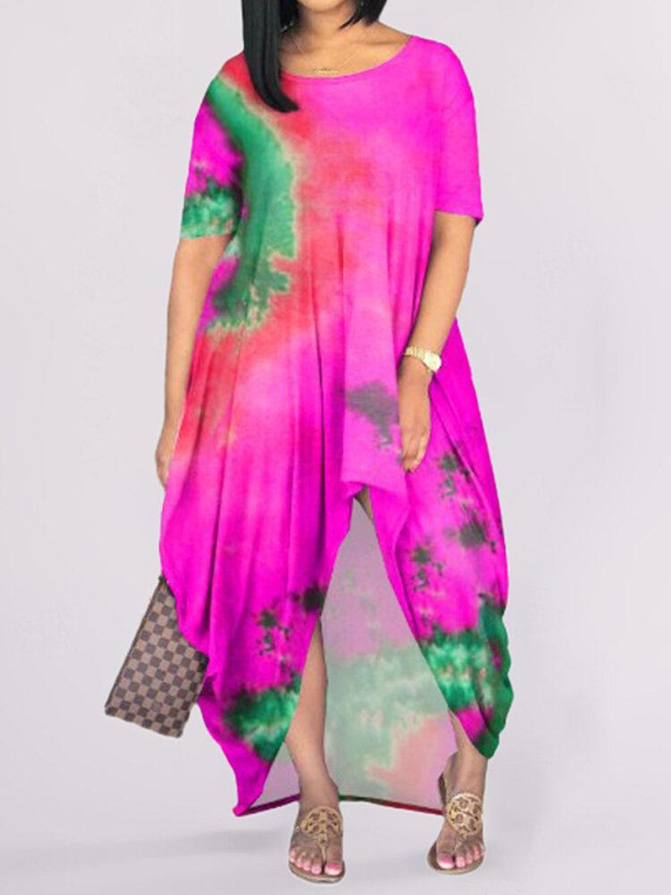 Best Bohemia Asymmetrical Print Short Sleeve Plus Size Dress You Can Buy