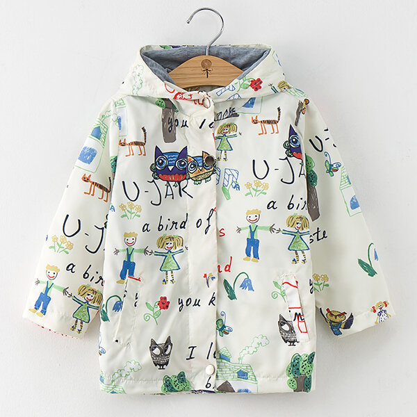 Best Cartoon Print Boys Girls Coat Spring Autumn Hooded Boys Windbreaker Toddler Jacket Kids Trench Coat You Can Buy